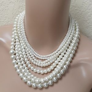 New! Short Faux Pearl Multi Row Necklace Gold